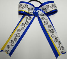 Volleyball Ponytail Holder Bow Blue Yellow Ribbons Streamers Team Spirit Gift