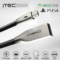 2M Long USB Charging Charger + Play Cable Lead PS4 & XBOX ONE Controller