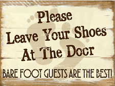 Please Leave Your Shoes at the Door Metal Sign, Rustic Décor, Beach House Décor