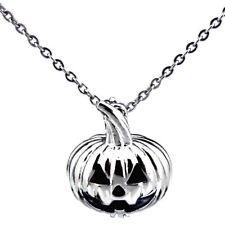 "Silver Halloween Pumpkin Pearl Cage - Halloween18"" Necklace --K389"