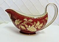 Wedgwood Ruby Tonquin Gravy Boat Red Gold Rare Near Mint 1950s