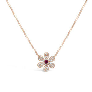 0.24 TCW 14K Rose Gold Natural Diamond Red Ruby Daisy Flower Pendant Necklace
