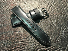 Shell cordovan black 22mm watch strap.
