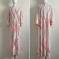Women's L Vintage 70s Housecoat Robe Lounge Zip Front Woven Nylon Multicolor