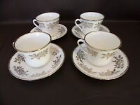Set Of Four Portland Pottery Cups & Saucers Staffordshire England