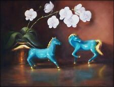Turquoise Horses & Orchids 14x18 original oil painting by Celene Farris, Maine