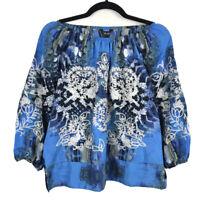 Ali Miles Blue Floral Embroidered On Off Shoulder 3/4 Sleeve Top Size PM