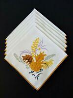 "6 Vintage Mid-Century Linen Napkins -  16"" x 16"""