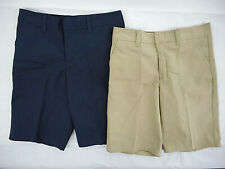 Girls Dickies Navy Or Khaki Flat Front Uniform Shorts Sz 8 10 12 14 16 18 & 20