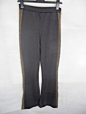 Black Gold Semi Sheer Trousers Metallic Size 10 Clubwear Party CoverUp Ibiza