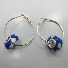 dangle Drop Hoop Earring 925 Sterling Silver women blue ball flower