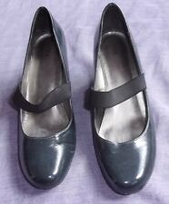 MARKS & SPENCERS Dark Grey Leather Court Shoes with Strap - UK 6
