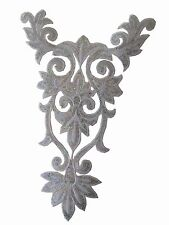 #6110B Silver Trim Fringe Flower,Leaves Sequin Embroidery Iron On Appliqué Patch