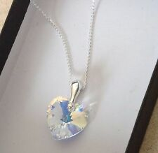 925 Sterling Silver Heart Necklace Swarovski Elements Crystal Pendant Clear AB