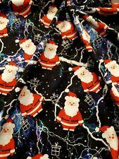 2 Metre lightning santa print spun poly fabric strecth crafts top quality