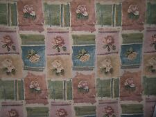 "Lee Jofa ""Tattered Roses"" tapestry weave vintage fabric 1.875 Yards color pastel"