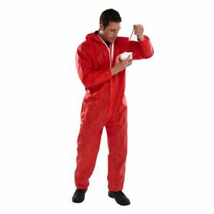 Disposable Coveralls Overalls Boilersuit Hood Painters Protective Suit (RED)