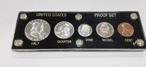1951 United States Mint 5 Coin Proof Set in Black Capital Holder 90% Silver (E)