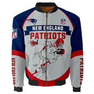 Men's New England Patriots Jacket MA1 Flight Bomber Thicken Coat Fans Outwear