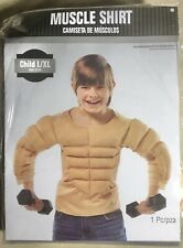 Muscle Costume Shirt, Padded & Defined - New, Child/Boy's L/Xl, Beige,Hilarious!