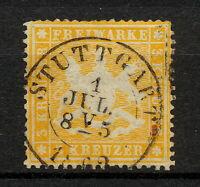 (YYAO 637) Wurttemberg 1861 Stuttgart USED Mich 17y Scott 25 Germany