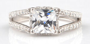 2.20Ct Princess Shape Solitaire With Accents Wedding Ring In 925 Sterling Silver