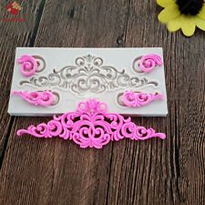 3D Vintage Silicone European Relief Mould Baroque Scroll Wedding Border Tool