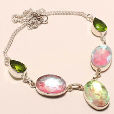 FACETED RAINBOW MYSTIC TOPAZ,PERIDOT  SILVER NECKLACE FREE SHIPPING