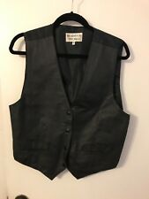 Black Leather Biker Vest Size Large Snap Front Nylon Satin Back Brandon Thomas