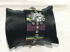 Juicy Couture New & Gen. Adjustable Fabric & Diamanté Bracelet With Crown Logo