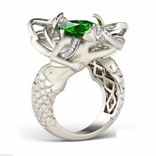 Green Emerald Cushion 1.50Ct Stone 925 Sterling Silver Mermaid Designed Ring