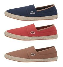 9539834cf Lacoste Marice 119 Men s Casual Canvas Loafer Shoes Sneakers Brown Navy Red  NEW