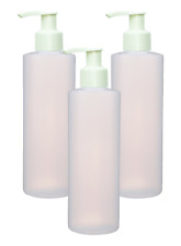 3 Empty White Dispensing Lotion Pump Bottles Sanitizer Gel Refillable 8 Oz HDPE