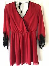 Juniors Dress Fit And Flare Red With Black Lace Sleeve Special Occasion Size L
