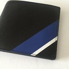 Ralph Lauren Polo Men's Black Multi Stripe Leather Billfold Bifold Wallet NWT