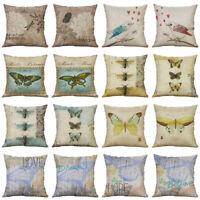 18'' Bird Butterfly Bee Pillow Case Cotton Linen Cushion Cover Throw Home Decor