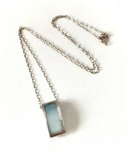 Solid Sterling Silver Pale blue Dyed MOP Pendant & Fine Link Chain Necklace