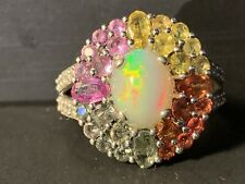 Sterling Silver Rhodium Finish Genuine Oval Ethiopian Opal Ring Size 9 1/4