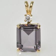 Ladies 14k Yellow Gold Emerald Cut Purple Spinel & Cubic Zirconia Estate Pendant