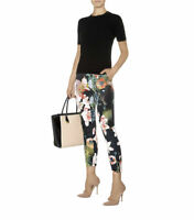TED BAKER Opulent Bloom floral print satin slim trousers cigarette pants zip 0 6