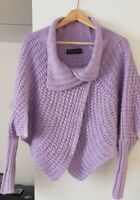 Cristina Gavioli violet lilac cable knit batwing cardigan poncho top with mohair