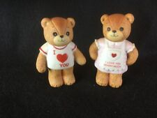 Set of 2 Vintage Enesco Lucy & Me Bear Figures Love You 1980's