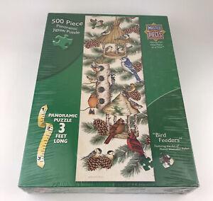 MasterPieces 500 Pc Panoramic Jigsaw Puzzle BIRD FEEDERS Nancy Pallan 🐦🐦