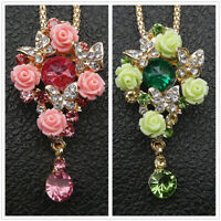 Betsey Johnson Pink/Green Resin Crystal Rose Butterfly Pendant Necklace/Brooch