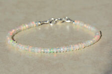 Ebay 100% Natural Ethiopian OPAL Faceted Gemstone Bead Bracelet 925 Silver Clasp