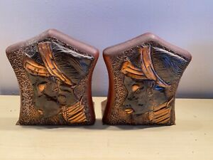 Wood Wooden Pair of Bookends Africa African Sculpture Design Woman Jewelry