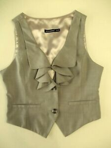 Ladies waistcoat Atmosphere Size 12 Grey Collared Lined Good con Xmas VR2