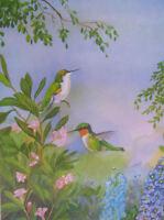 Hummingbirds vintage art