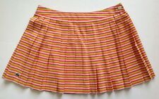 LN Lacoste Crocodile Pleat Mini Tennis Skirt Pink Green Orange Stripe 40