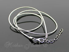 SILVER NYLON CORD CHAIN LADIES GIRLS BOYS MENS NECKLACE 45CM WITH 4CM EXTENDER